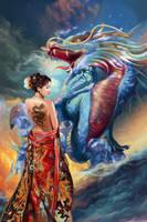 Oriental Beauty and Dragon by a-thammasak