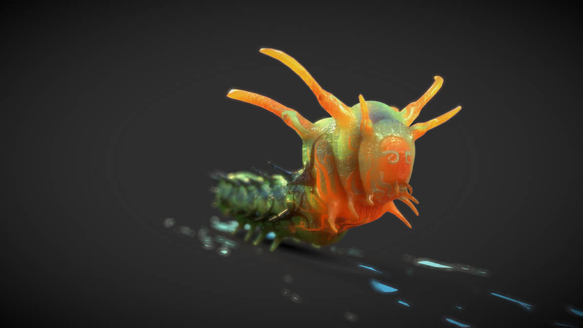 Horned Devil Caterpillar Alternative Style (2) by chaitanyak
