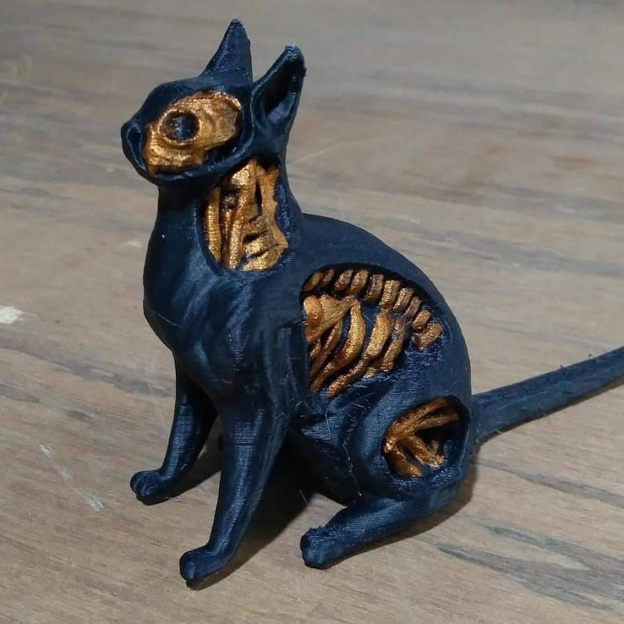 Undead Cat 3d Print Painted Black by chaitanyak