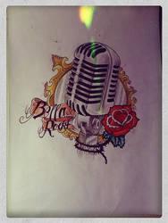 Old microphone- tattoo drawing by Mibooo