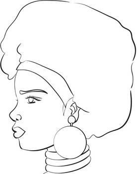 African Princess - Line Art by MistyGlow-Betty