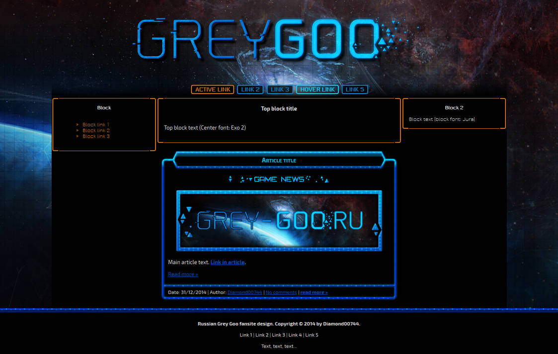 Russian Grey Goo fansite design by Diamond00744