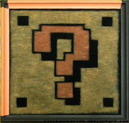 Question block on velvet by Clockworkalien