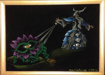 HotS: Black velvet painting of Shambler vs. Gothik by Clockworkalien