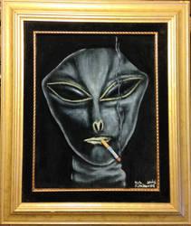 X-Files: Cigarette smoking alien on black velvet by Clockworkalien
