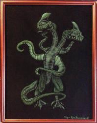 Stranger Things: Demogorgon on black velvet by Clockworkalien