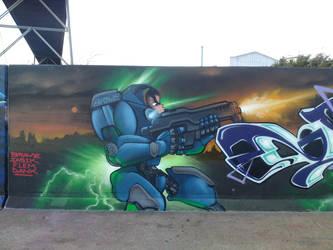 master blaster.  Epic Lazer gun graffiti character by Brave-one