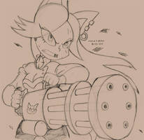 Jessica And Minigun Sketch by FalloutCat