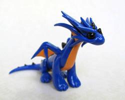 Blue and Orange Dragon by DragonsAndBeasties