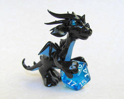 Black and Blue Dice Dragon by DragonsAndBeasties