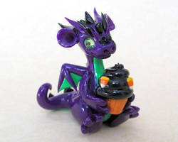Halloween Dragon with Cupcake by DragonsAndBeasties