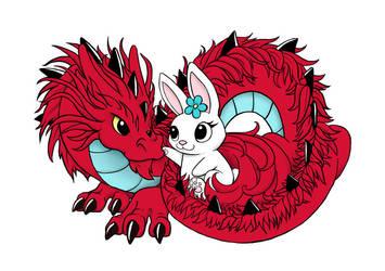 Dragon and Bunny Love by DragonsAndBeasties