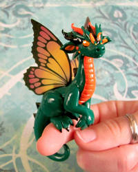 Green and Orange Butterfly Dragon by DragonsAndBeasties
