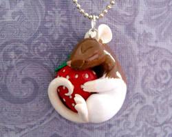 Strawberry Rat Pandant by DragonsAndBeasties