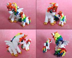 Mama and Baby Rainbow Ponies 2 by DragonsAndBeasties