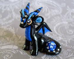 Black and Blue Mini Dice Dragon by DragonsAndBeasties