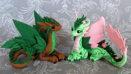 Leaf and Flower Dragon Couple by DragonsAndBeasties