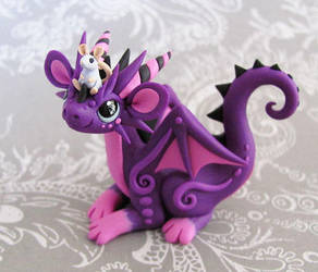 Purple dragon with mouse buddy by DragonsAndBeasties