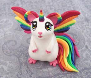 Rainbow Hamicorn by DragonsAndBeasties