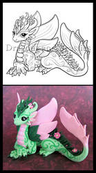 Flower Dragon Illustrated by DragonsAndBeasties