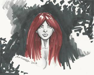 Michael Stewart Copic Marker Sketch RedHead by michaelstewart