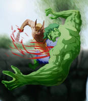 The Hulk vs Wolverine by thatSanj