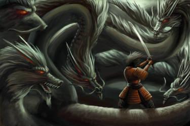 Susano-o Battles Orochi by TaekwondoNJ
