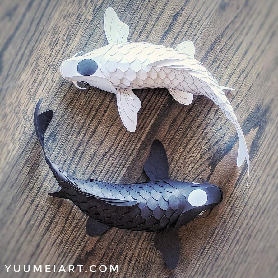 Yin Yang Paper Koi Sculpture by yuumei