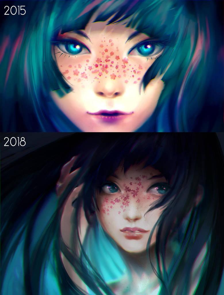 Draw this Again - Sakura Freckles by yuumei