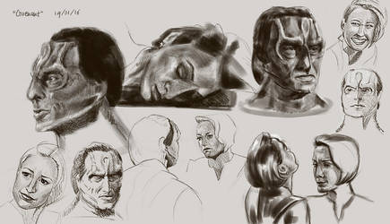 Star Trek Kira and Dukat - practise sheet by GrayscaleArt