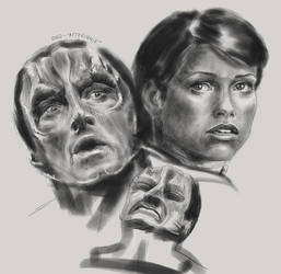 Garak and Ezri - practise sheet by GrayscaleArt