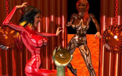 Alien Vampire Catfight in Latex by westcat