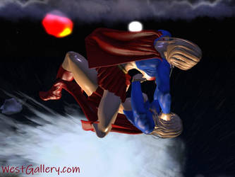 Super Girl vs Super Girl animated Wrestle CatFight by westcat
