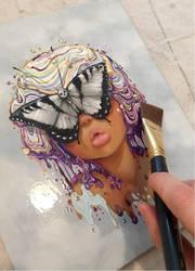 Varnishing my painting Sightless by camilladerrico