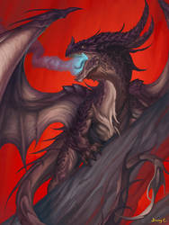 Dragon on Crimson by Steamhat