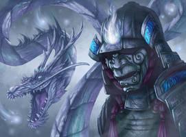 Spirit Armor with Dragon by JWilsonIllustration