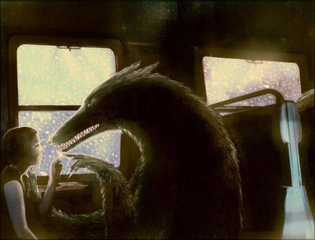 on a train with a coyote ghost by barbarasobczynska