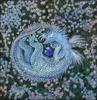 a forget-me-not baby-dragon by barbarasobczynska