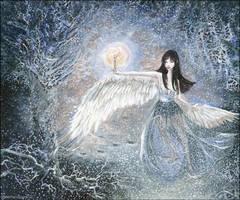 swan-winged girl Iris, dancing by barbarasobczynska