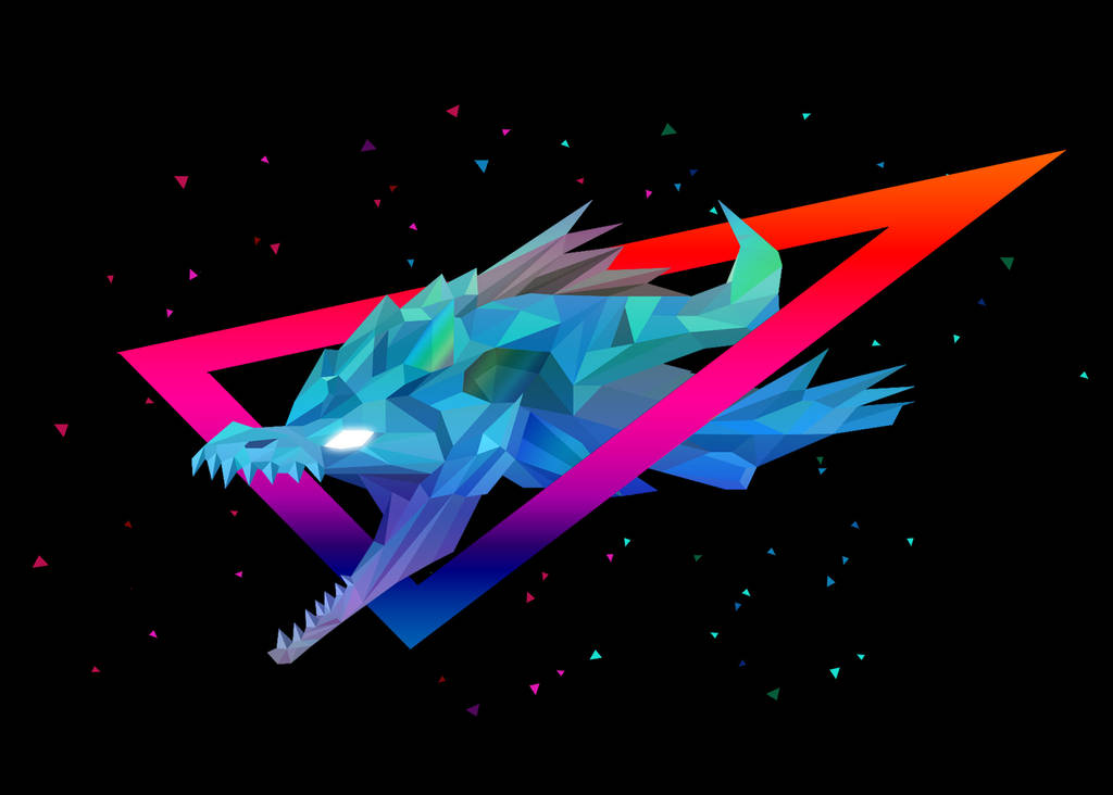 Low Poly Art - Winter Wyvern by giftmones