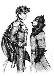 Superman and Batman (Jon Kent and Damian Wayne) by Madam-Monochrom
