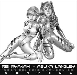 Evangelion: Rei and Asuka by DaleNorvell