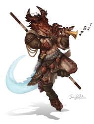 Faeraxx  - Dragonborn Bard by SamSantala