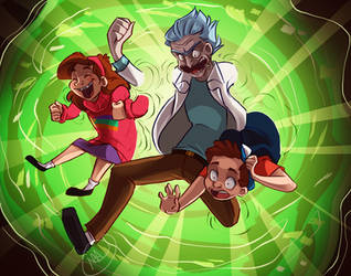 Crossover Rick and Morty  Gravity Falls by MissArtsyy