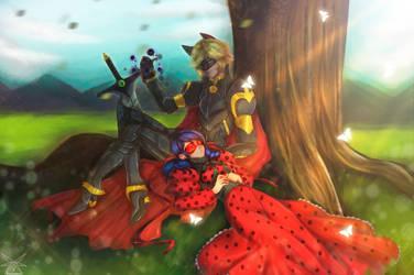 Knight Cat Noir and Ladybug {speedpaint} by KasugaBee