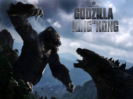Kingkong vs godzilla - cover by GoldammerArt