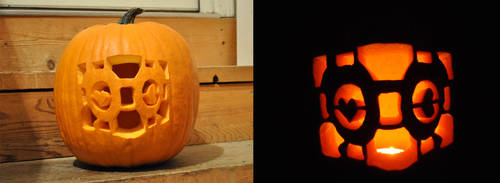 Portal Companion Cube Pumpkin Carving by ladybug95