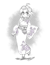 Kimono Madoka -Lineart- by takafumi-adachi