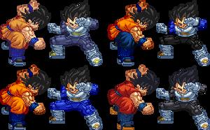 Goku Vs Vegeta Return of F costumes sprites by Balthazar321