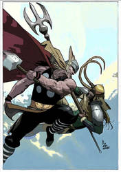 Thorvsloki (Esad Ribic redrawing) by FanPsart88